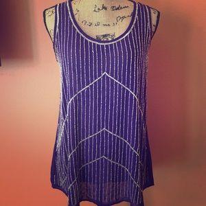 ANGL Purple Beaded Dressy Tank Top
